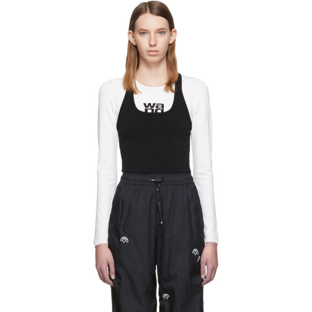 alexanderwang.t White & Black Sport Layering Logo Long Sleeve T-Shirt