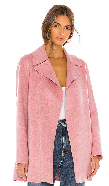 Theory Overlay Df Coat in Pink