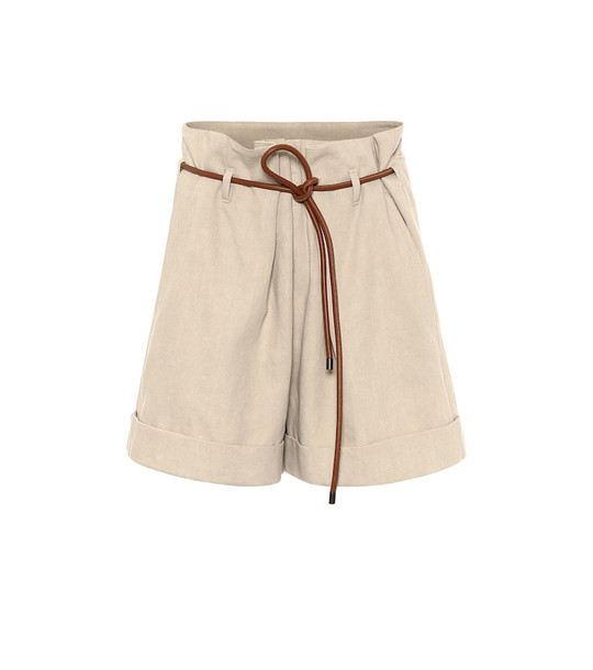 Brunello Cucinelli Cotton and linen shorts in beige