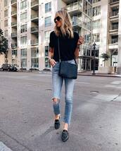 shoes,mules,loafers,skinny jeans,ripped jeans,black bag,black t-shirt