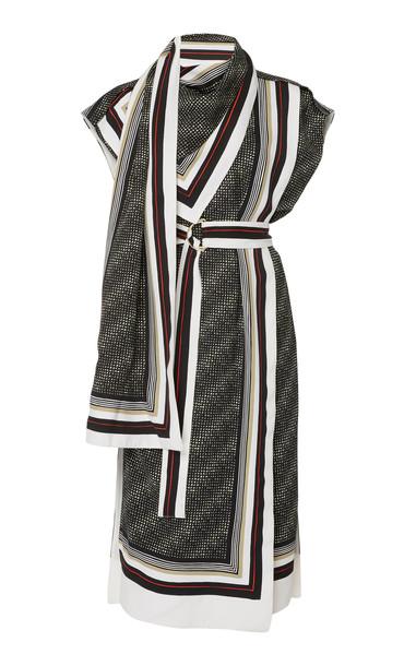 Proenza Schouler Sleevless Printed Scarf Dress in black