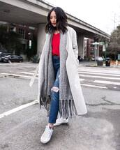 scarf,knitted scarf,white sneakers,ripped jeans,skinny jeans,grey coat,blouse