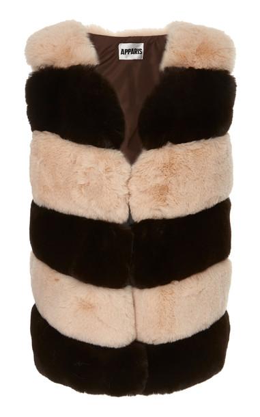 Apparis Ritana Striped Faux Fur Vest in multi