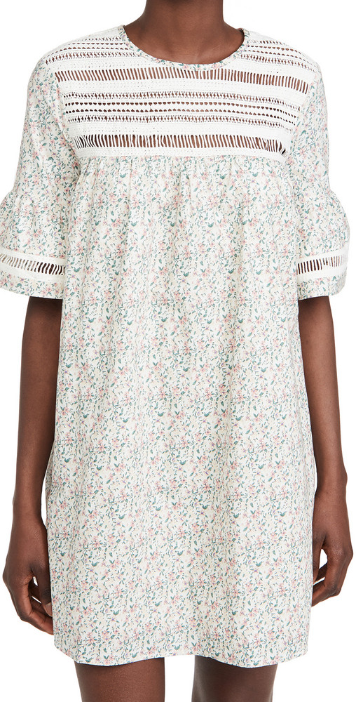 ENGLISH FACTORY Floral Lace Trim Dress in white / multi