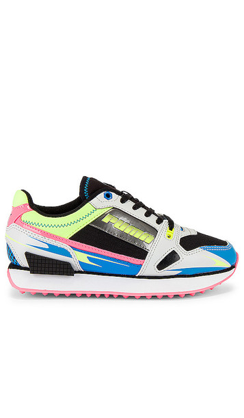 Puma Mile Rider Sunny Getaway Sneaker in Blue,Pink in gray / yellow