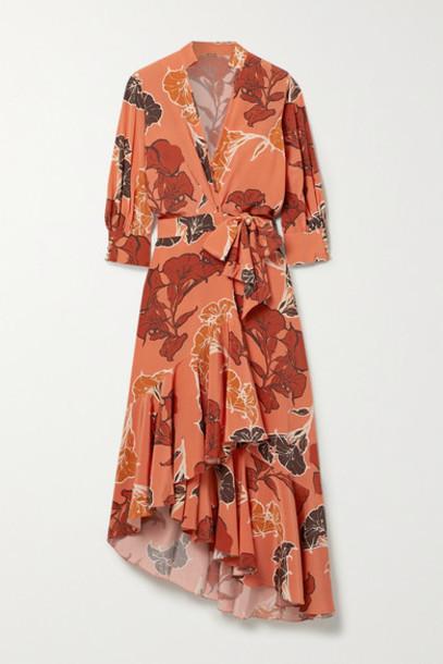 Johanna Ortiz - Rum Journey Asymmetric Floral-print Silk Crepe De Chine Wrap Dress - Orange