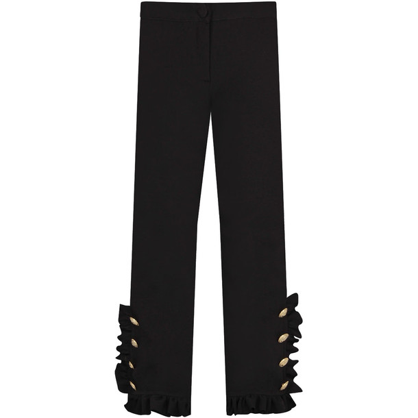 MSGM Black Frilled Girl Pants With Buttons