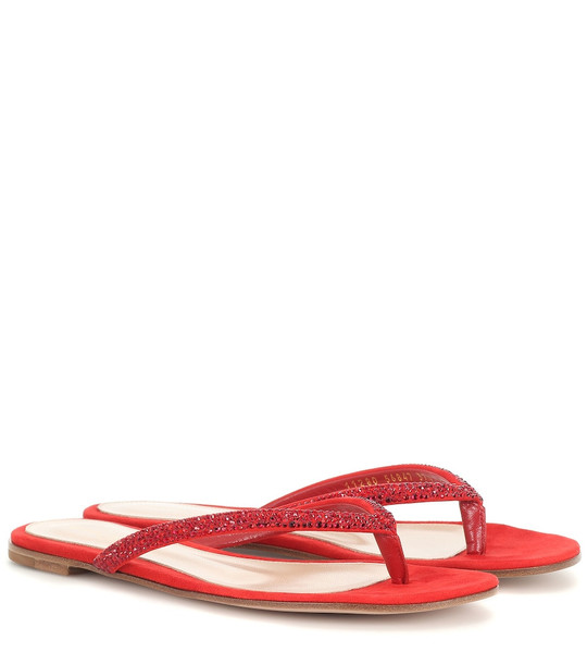 Gianvito Rossi Embellished suede sandals in red