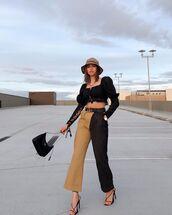 pants,cargo pants,high waisted pants,black sandals,crop tops,prada bag,bucket hat