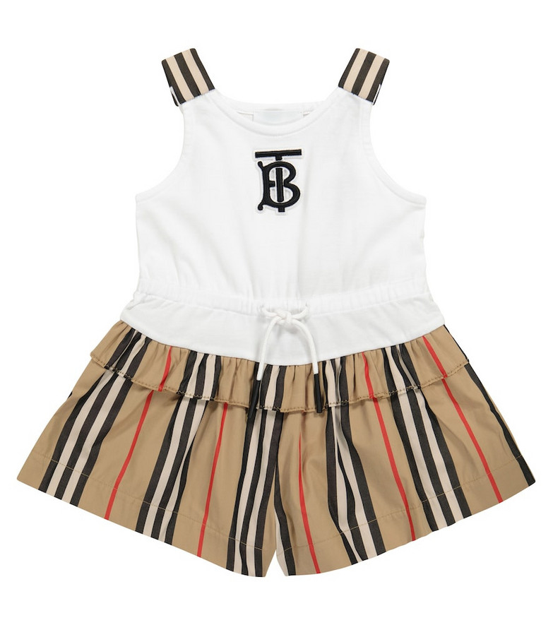 Burberry Kids Baby Icon Stripe cotton playsuit in beige