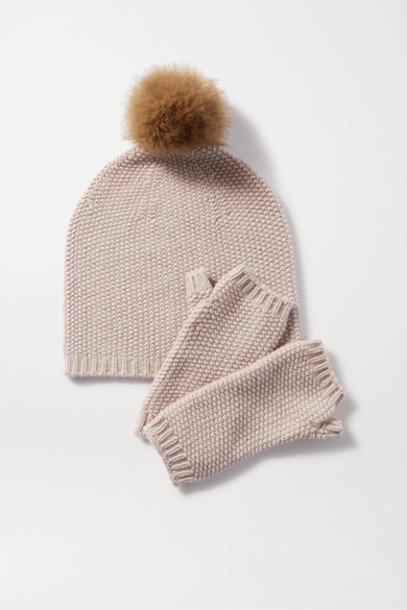 Johnstons of Elgin - Faux Fur-trimmed Metallic Cashmere-blend Beanie And Wrist Warmers Set - Beige