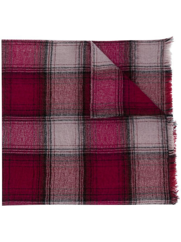 Isabel Marant check-pattern winter scarf in red