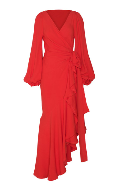 Maria Lucia Hohan Eliana Crepe Wrap Dress Size: 34 in orange