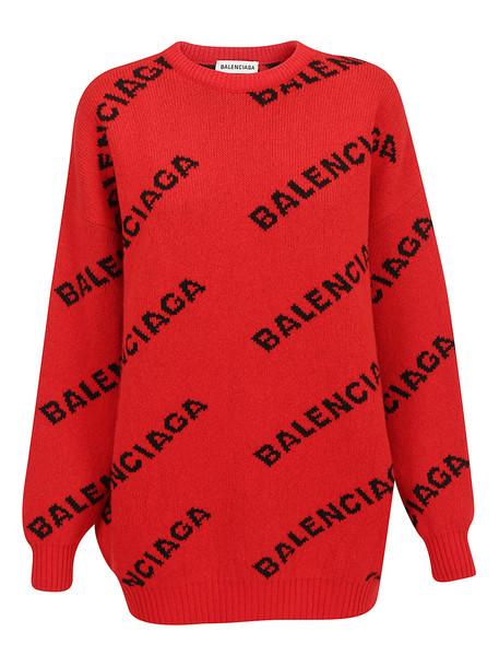Balenciaga Logo Sweater in black / red