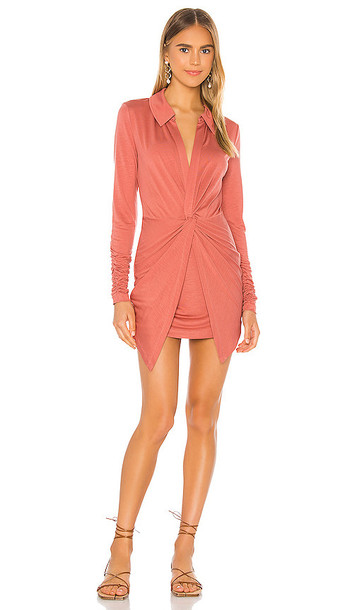 L'Academie The Germane Mini Dress in Red in coral