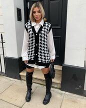 sweater,cardigan,vest,knitted sweater,houndstooth,white shirt,black shorts,bag,over the knee boots,black boots