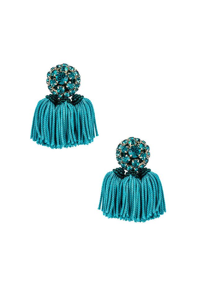 Sachin & Babi Crystal Cha Cha Earrings in teal