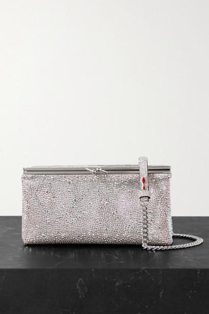 Christian Louboutin - Daisy Crystal-embellished Metallic Leather Shoulder Bag - Silver