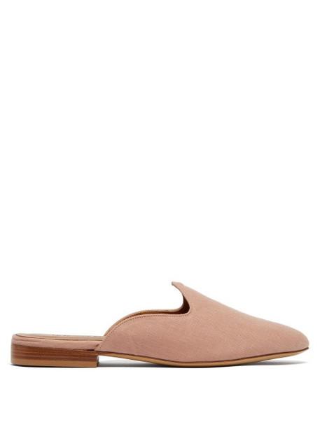 Le Monde Beryl - Venetian Backless Linen Slipper Shoes - Womens - Light Pink
