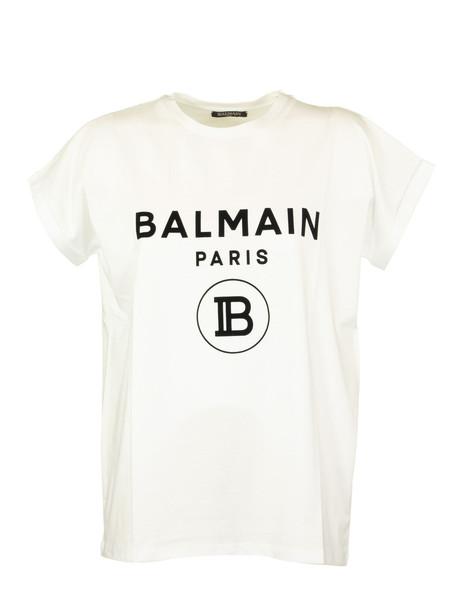 Balmain Cotton T-shirt With Flocked Balmain Logo in white