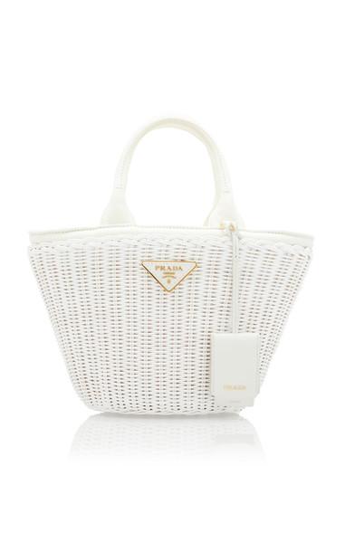 Prada Small Leather-Trimmed Raffia Basket Bag in white