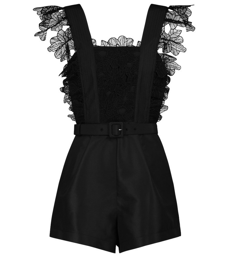 Self-Portrait Guipure lace-trimmed playsuit in black