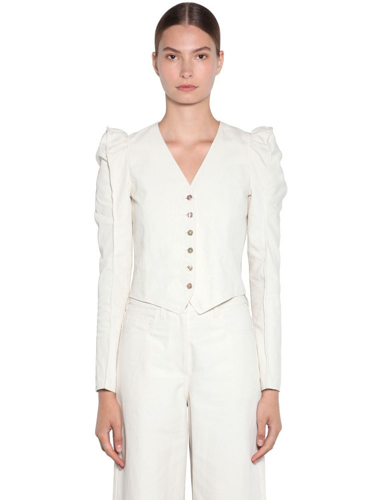 KENZO Cropped Soft Linen Drill Jacket in ivory