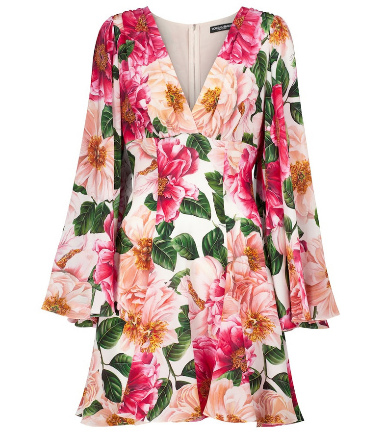 Dolce & Gabbana Floral silk minidress in pink