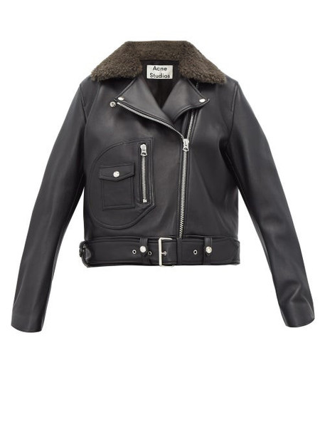 Acne Studios - Merlyn Shearling Collar Leather Biker Jacket - Womens - Black