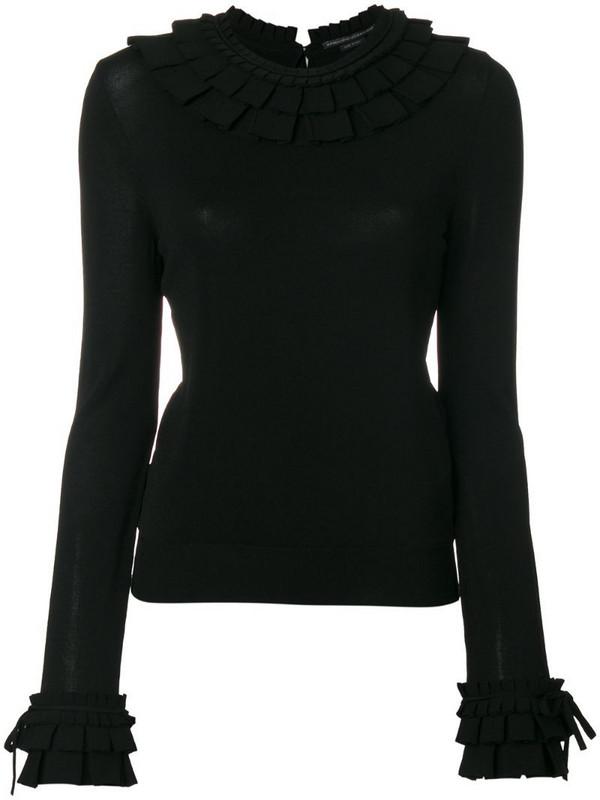 Ermanno Scervino ruffle trim tie cuff jumper in black
