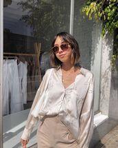 top,shirt,silk,white bag,high waisted pants