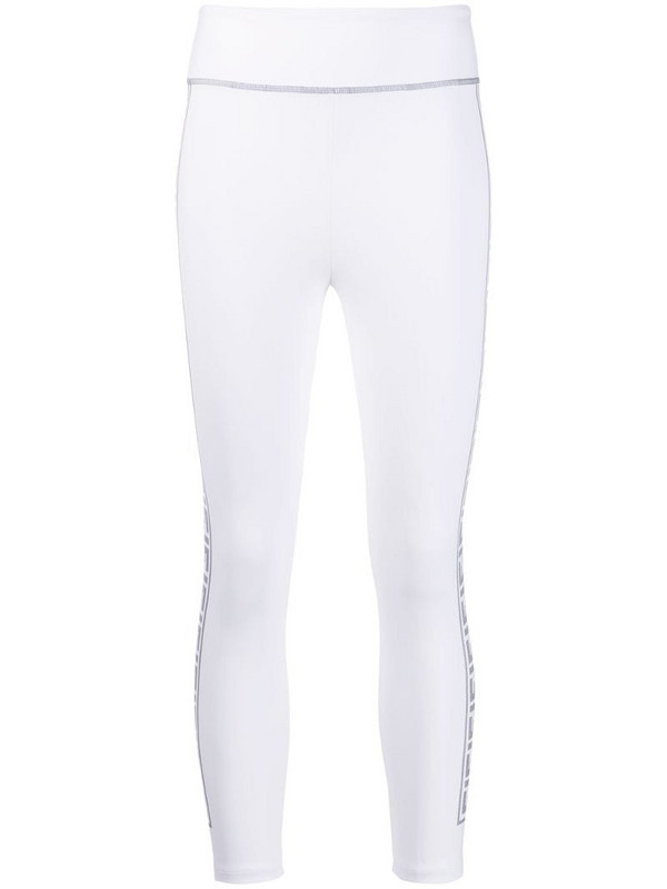 Fendi FF motif cropped leggings in white