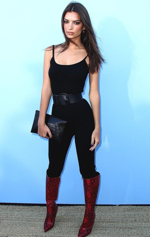 jumpsuit top pants emily ratajkowski model off-duty boots belt fashion week