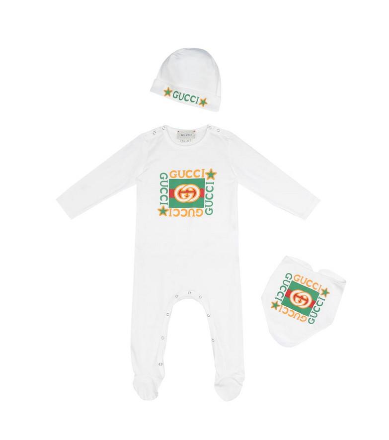 Gucci Kids Baby cotton onesie, bib and hat set in white