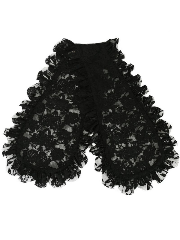 yuhan wang ruffled floral-lace scarf in black