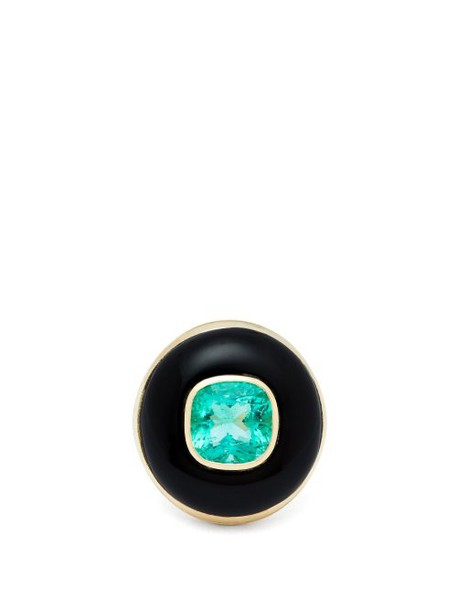 Retrouvai - Lollipop Gold, Onyx & Emerald Ring - Womens - Green