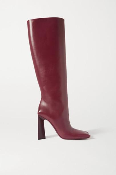 Balenciaga - Moon Leather Knee Boots - Burgundy