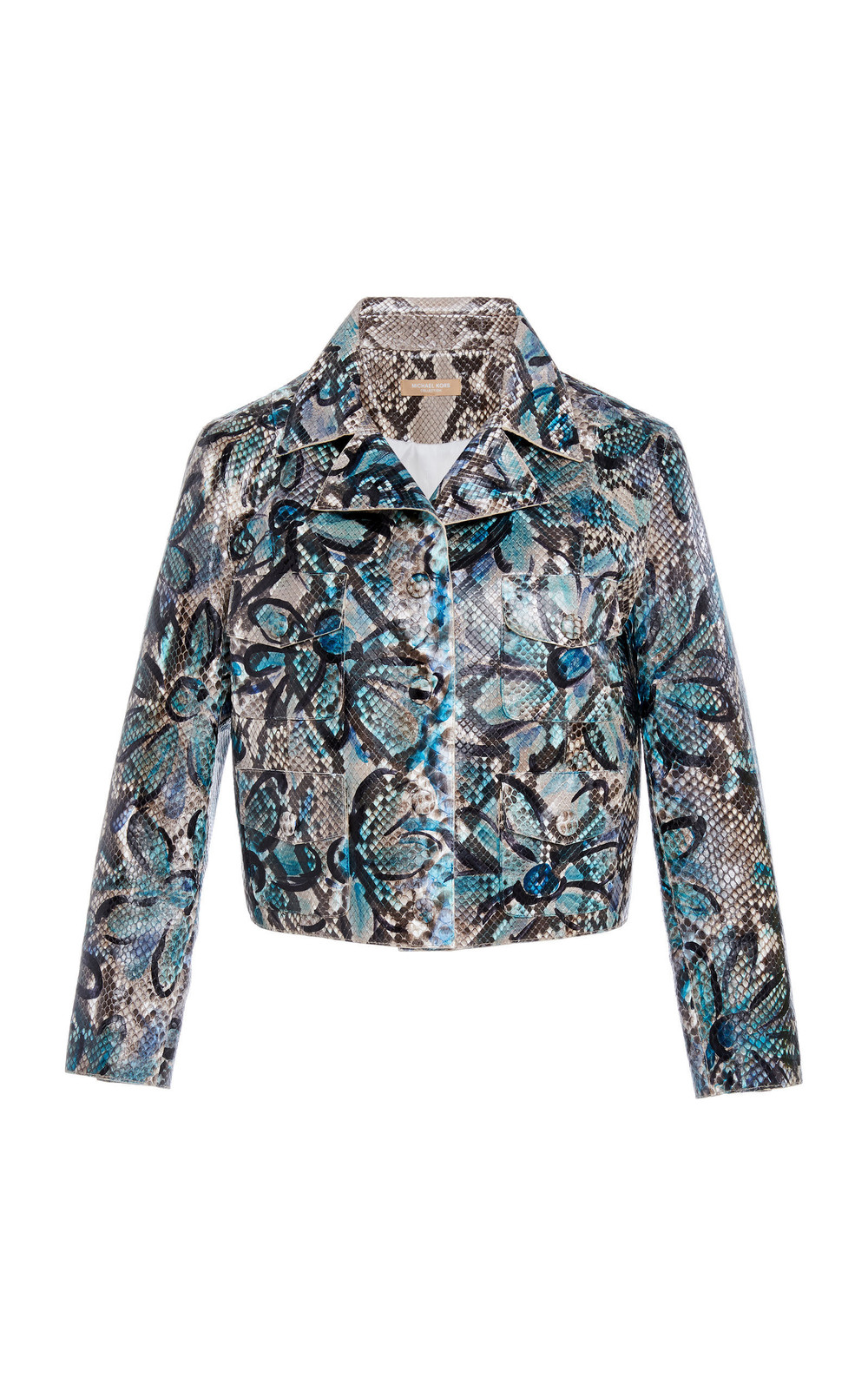 Michael Kors Collection Jean Python Skin Jacket in blue