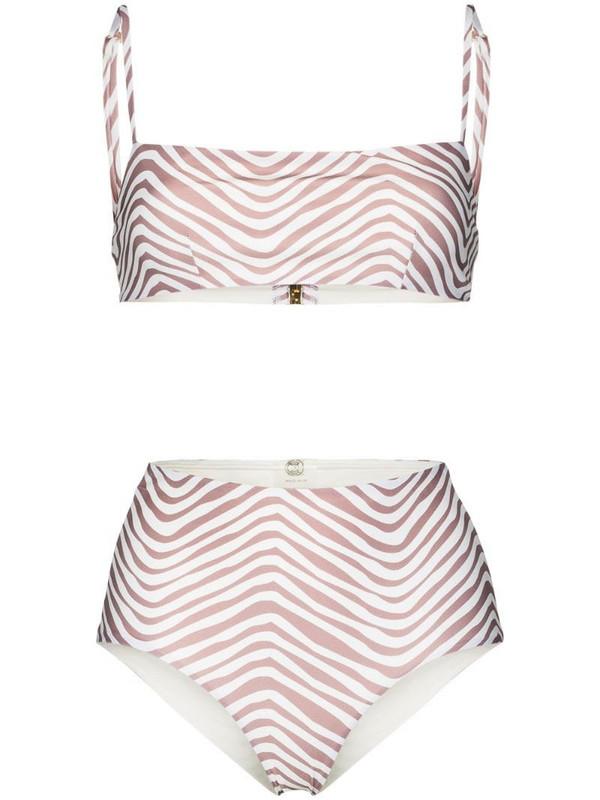 Cloe Cassandro Tahiti stripe-pattern bikini in white