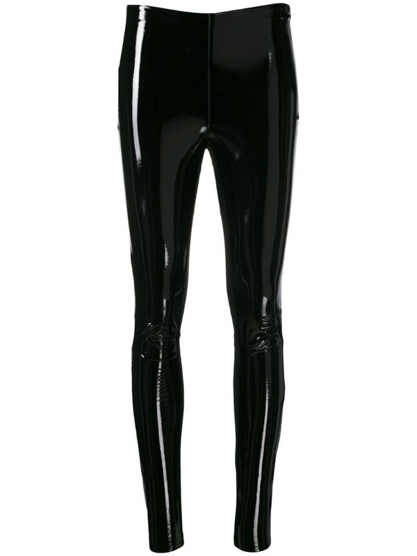 Karl Lagerfeld varnished finish leggings in black