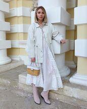 jacket,white jacket,h&m,midi dress,white dress,knee high boots,handbag,michael kors