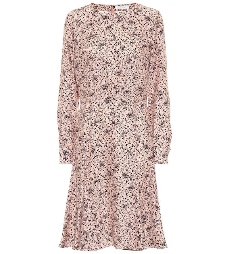 Chloé Printed silk crêpe midi dress in pink