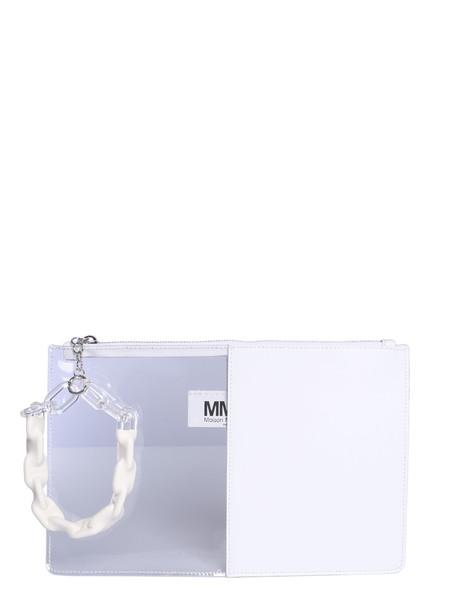 MM6 Maison Margiela Half-and-half Clutch in bianco