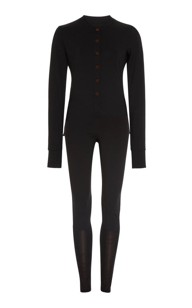 Matek Gentoo Mesh-Paneled Jersey Jumpsuit in black