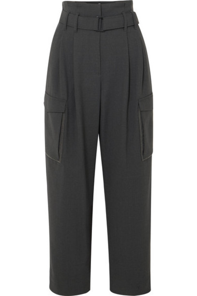 Brunello Cucinelli - Cropped Belted Bead-embellished Wool-blend Wide-leg Pants - Dark gray