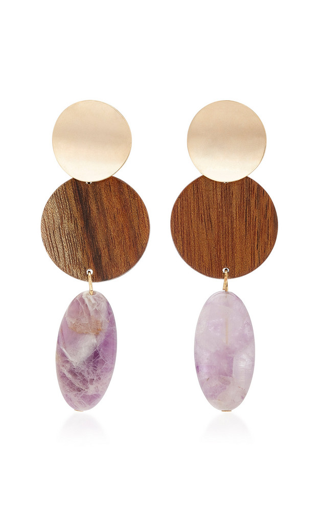 Sophie Monet The Nymph Gold-Plated, Shedua Wood and Amethyst Earrings in brown