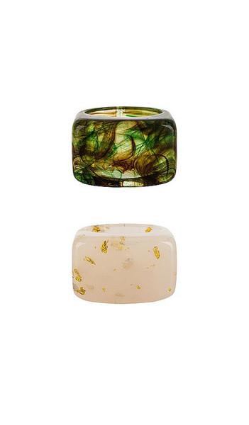 Casa Clara Lemon Ring Set in Green,Ivory in taupe