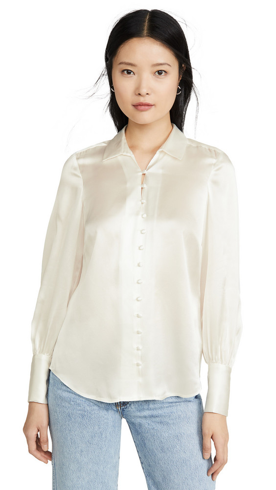 L'AGENCE Naomi Button Loop Blouse in ivory