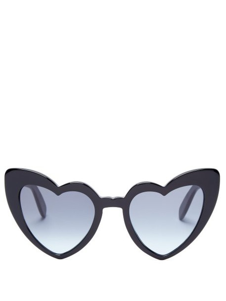 Saint Laurent - Loulou Heart Shaped Sunglasses - Womens - Black Grey