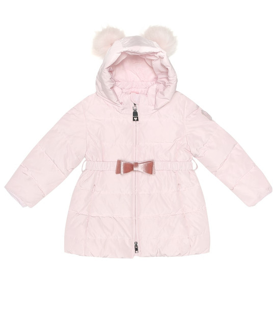 Monnalisa Baby fur-trimmed puffer jacket in pink